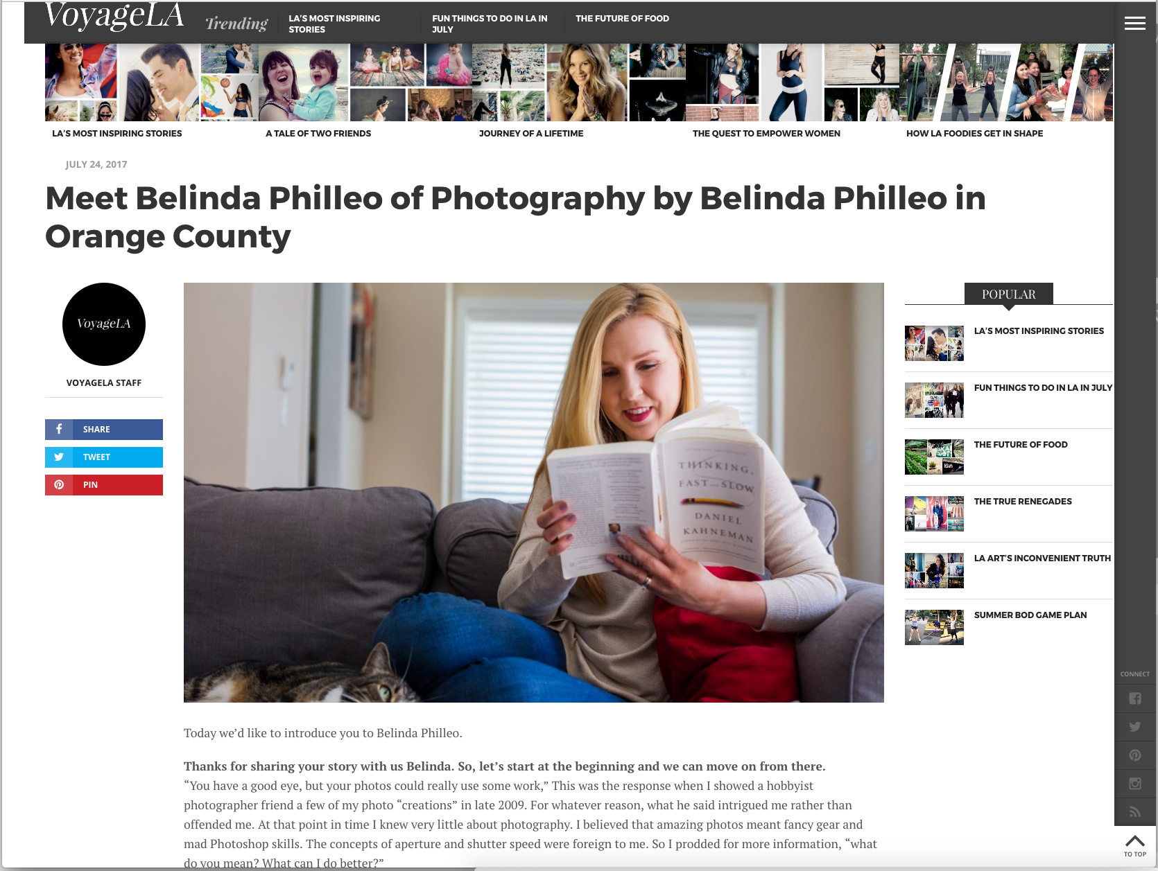 Belinda Philleo featured on Voyage LA Magazine