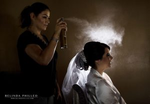 Dramatic hairspray photo of bride