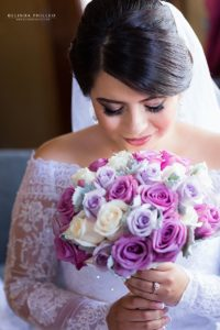 white and purple roses bridal bouquet