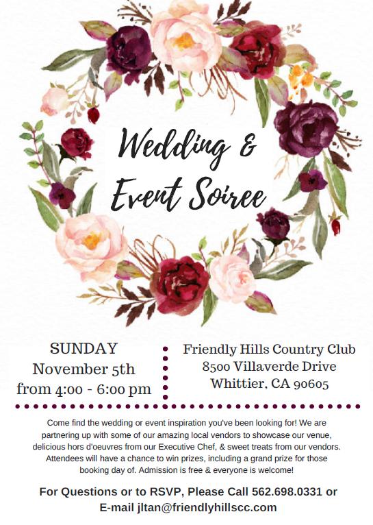 Wedding Soiree at Friendly Hills Country Club November 2017