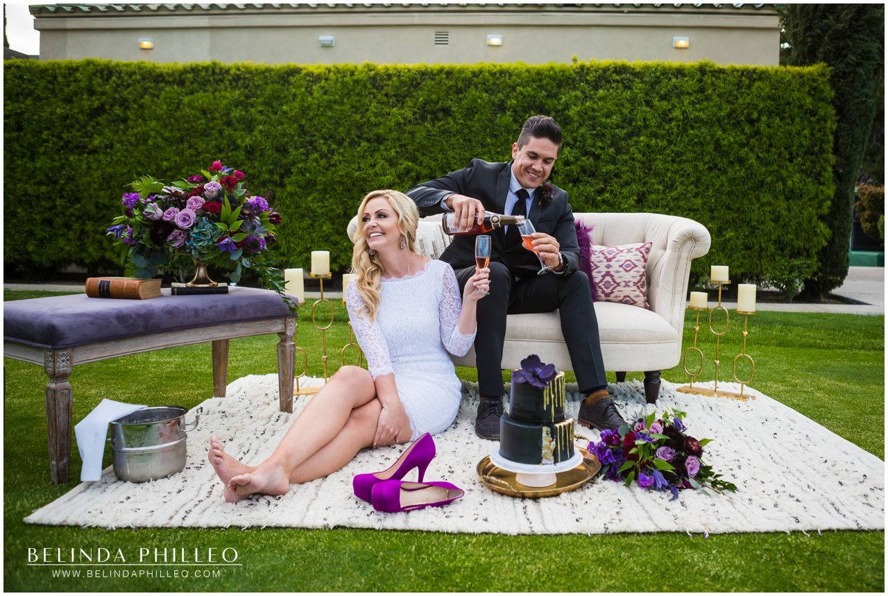 Black and purple wedding inspiration styled shoot in Orange County, CA