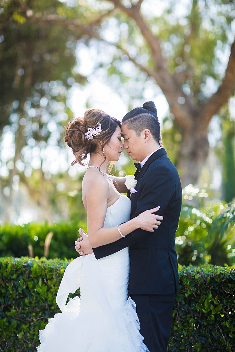 Old Ranch Country Club Wedding, romantic bride and groom photos