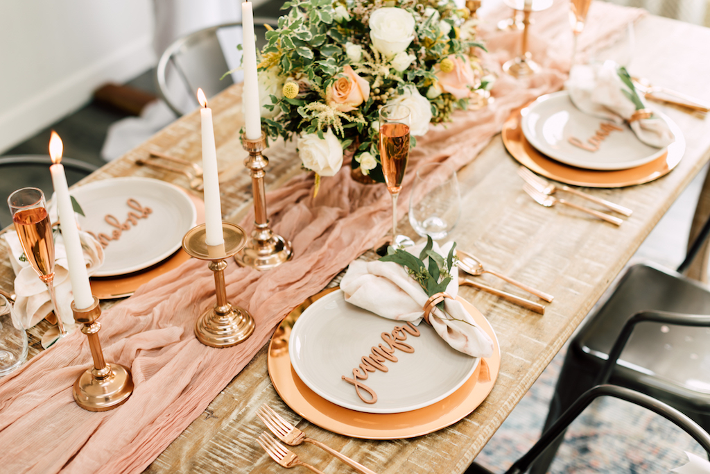 rose gold seating chart and place markers for weddings