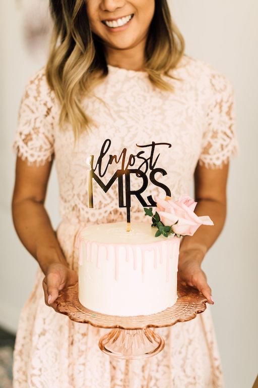 laser cut Almost Mrs cake topper for bridal shower decor