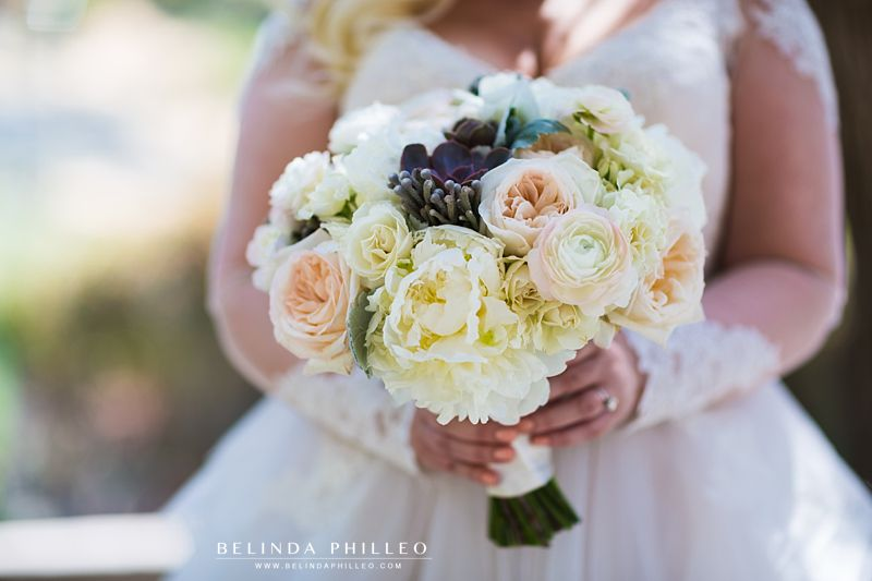 Bridal bouquet of white ranunculus