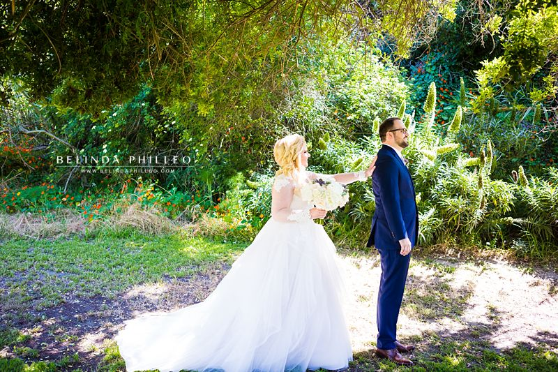 First look between bride and groom at The Ranch at Laguna Beach