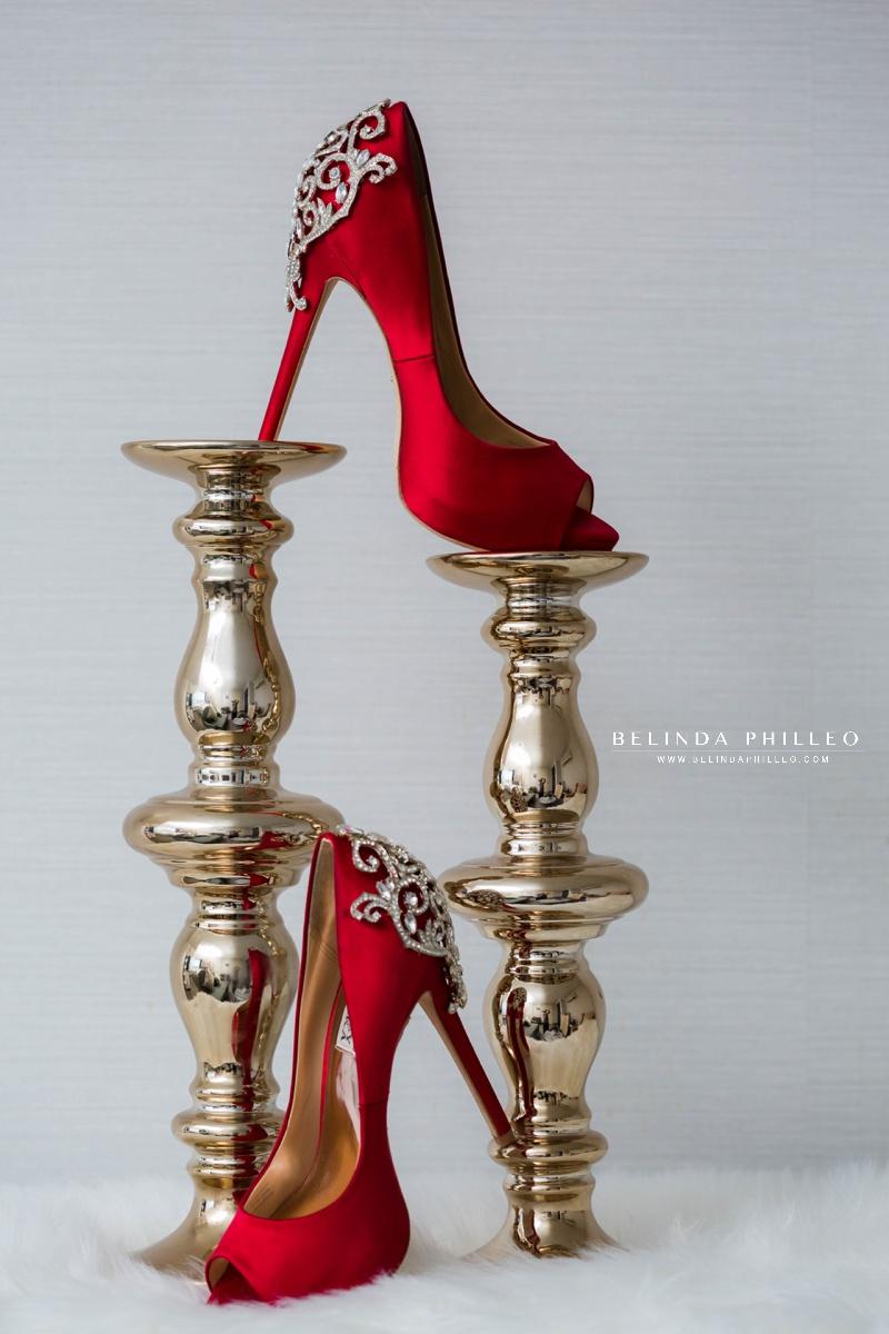 Red Badgley Mischka jewel encrusted high heels