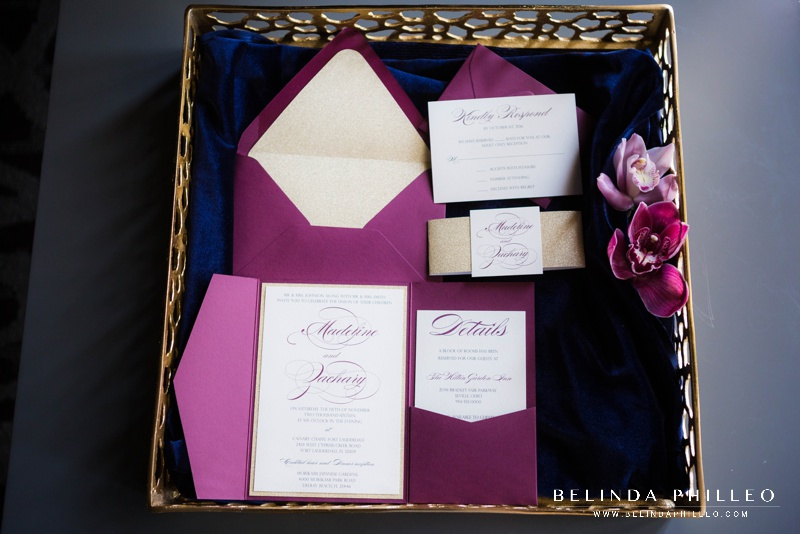 Merlot & Gold wedding invitation suite by CZ Invitations