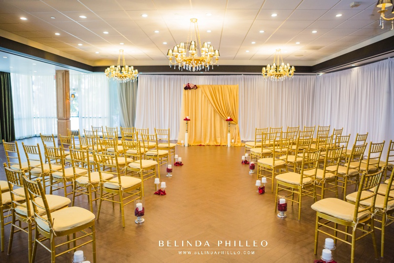 Red and gold ceremony decor at the Hills Hotel Laguna