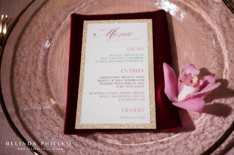 Blush, merlot and gold wedding inspiration. Glamorous dinner menu stationery