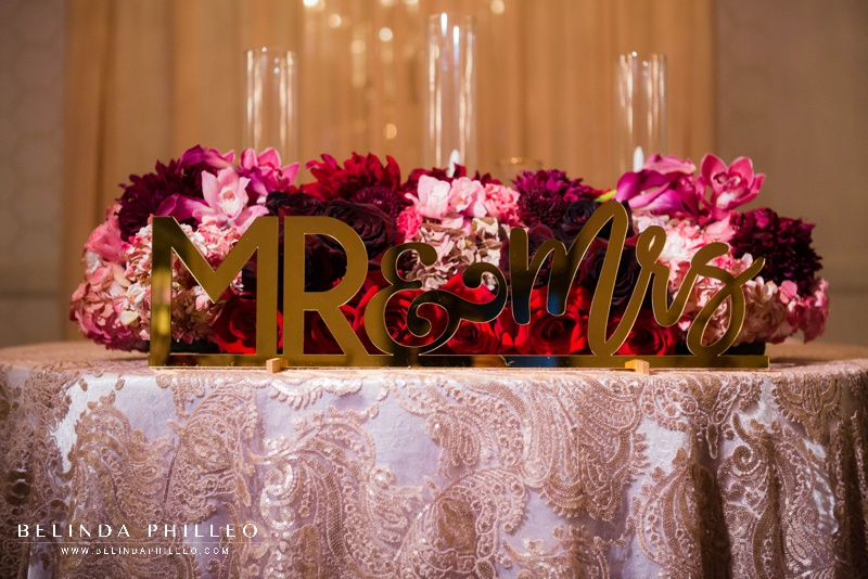 Laser cut acrylic Mr & Mrs sweetheart table decor in gold