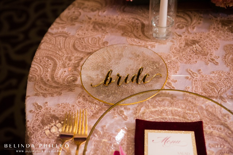 Gold acrylic laser cut reception name tag for wedding reception