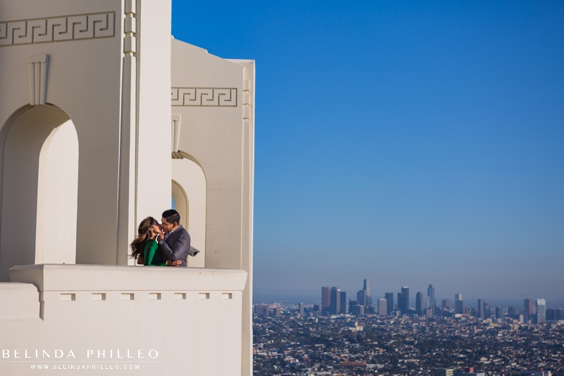 Griffith Observatory engagement photos with view of DTLA