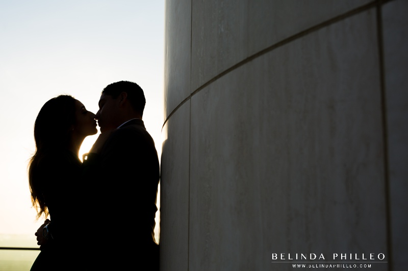 Silhouette engagement photo at Griffith Observatory