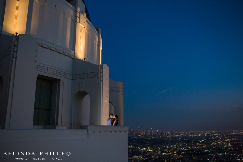 Griffith Observatory engagement photos at night