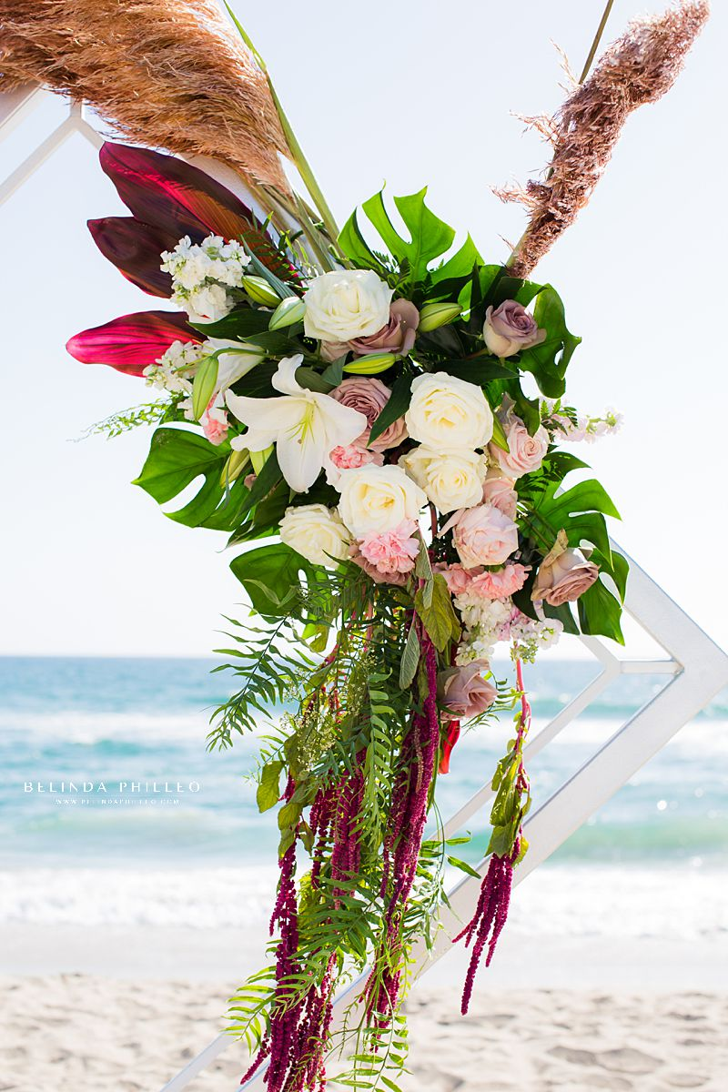 tropical florals at Huntington Beach Wedding