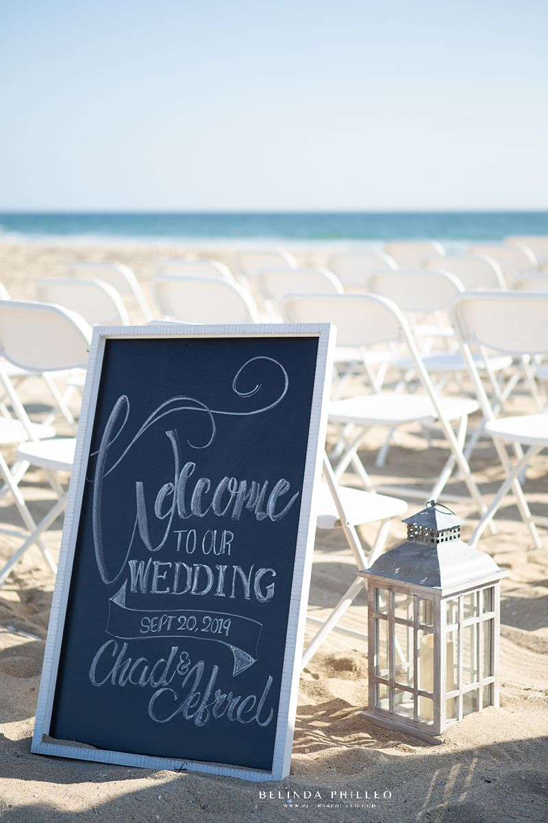 Chalkboard welcome sign at Huntington Beach wedding