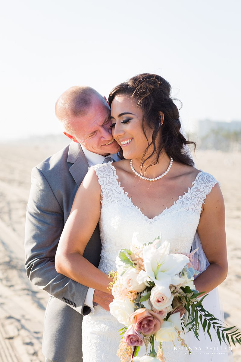 Bride and groom portraits at Huntington Beach wedding
