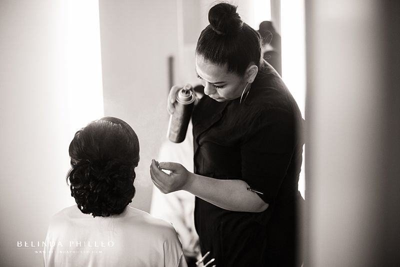 Hair by Maria Palacios works on bridal party for Downtown Los Angeles Wedding