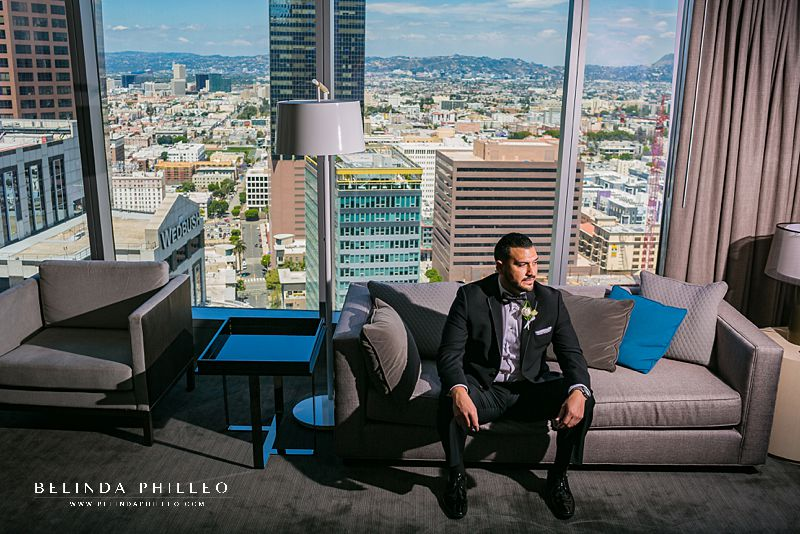 Groom getting ready for the wedding at Intercontinental Hotel DTLA