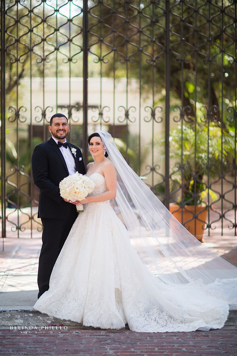 Bride and groom portraits by Belinda Philleo at Los Angeles River Center & Gardens Wedding