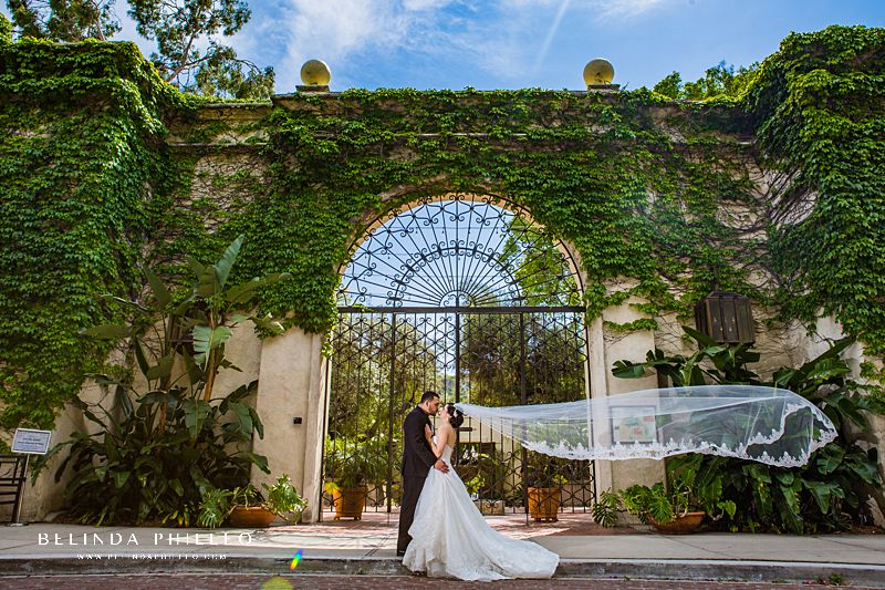Bride and groom portraits at Los Angeles River Center & Gardens Wedding