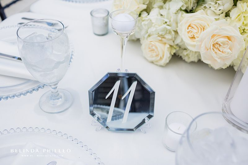 Mirrored table numbers at Los Angeles River Center & Gardens Wedding