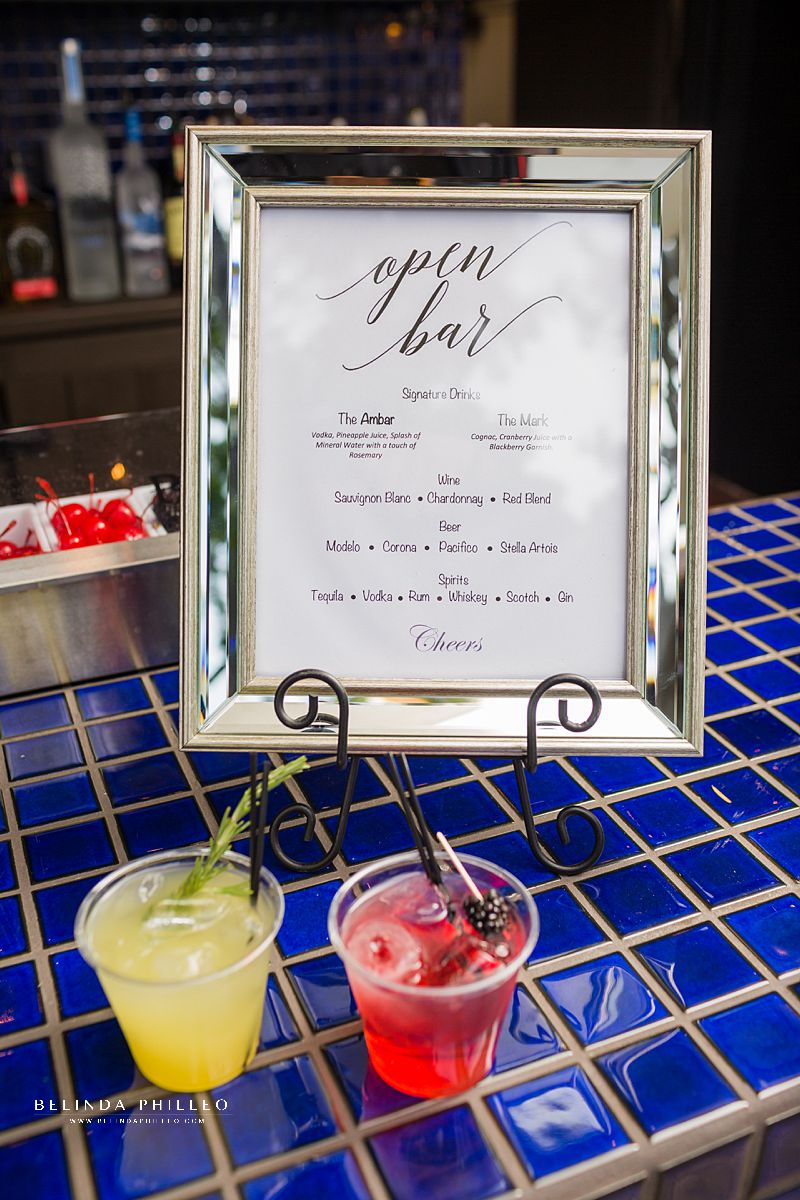 Bride and groom signature cocktails by Mr Bee Bartender at Los Angeles River Center & Gardens wedding