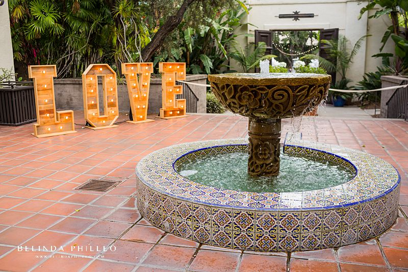 Giant love marquee at fountain at Los Angeles River Center & Gardens wedding