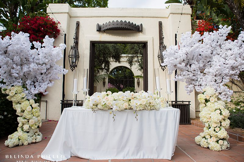 All white floral sweetheart table at Los Angeles River Center & Gardens wedding