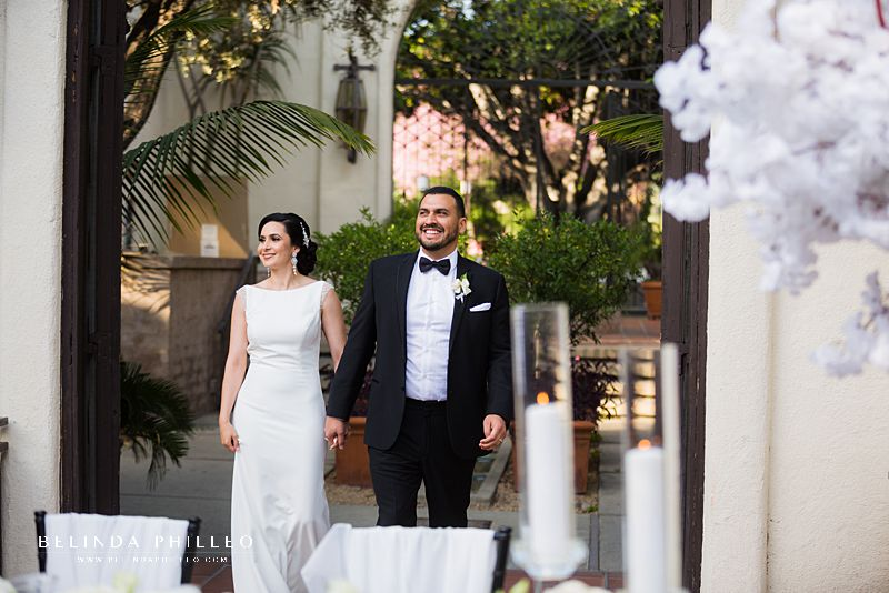 Bride and groom make their grand entrance at Los Angeles River Center & Gardens Wedding