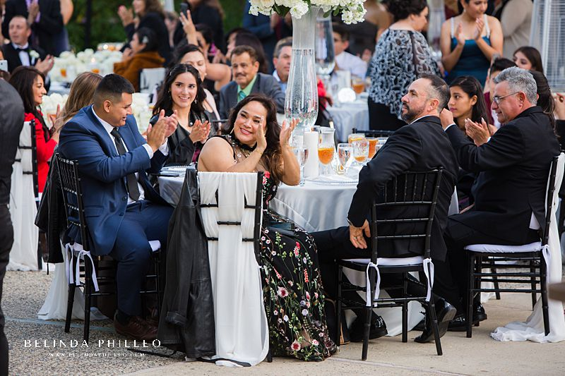 Guests clap for grand entrance at Los Angeles River Center & Gardens Wedding