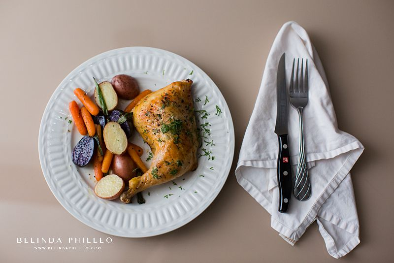 Easy dinner recipes. Roast chicken with spring vegetables from Food Network