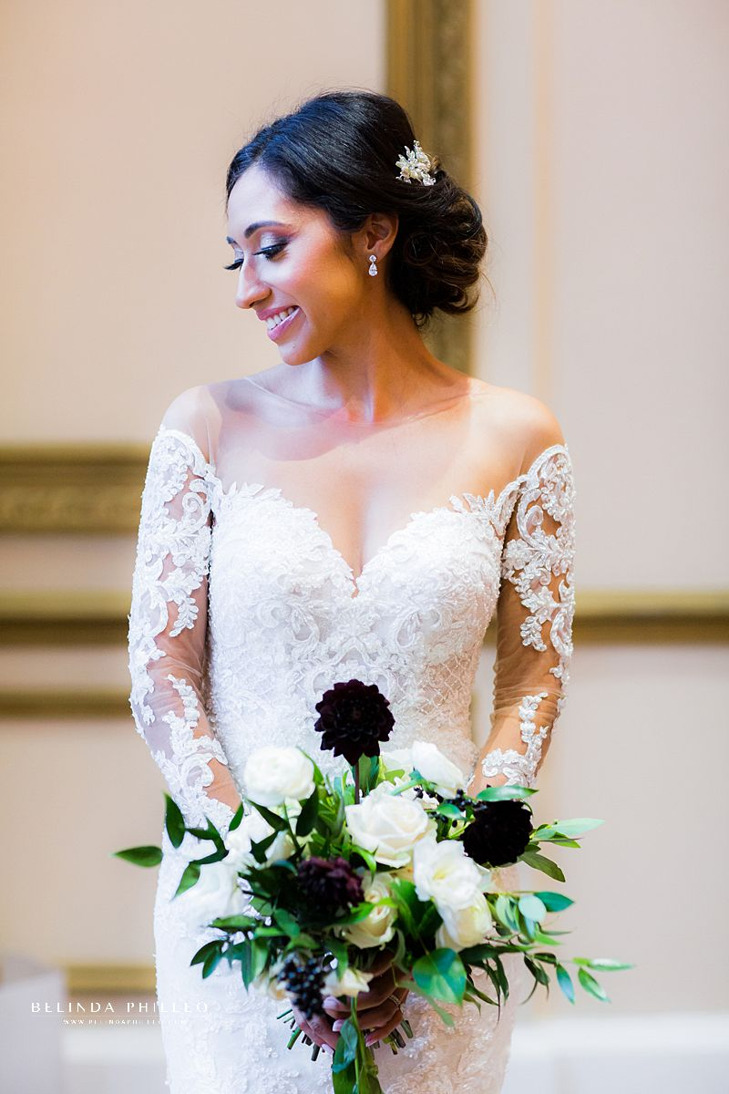 Glamorous Los Angeles bride in her Martina Liana gown at Alexandria Ballrooms, Los Angeles, CA. Los Angeles wedding Photography by Belinda Philleo