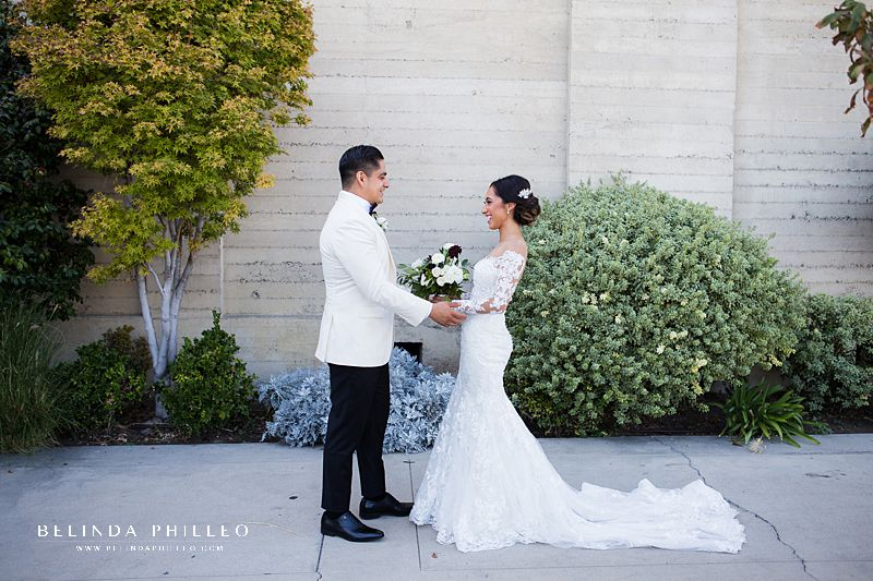 Bride and groom share intimate first look before their ceremony outside St John's Episcopal Cathedral in Downtown Los Angeles.
