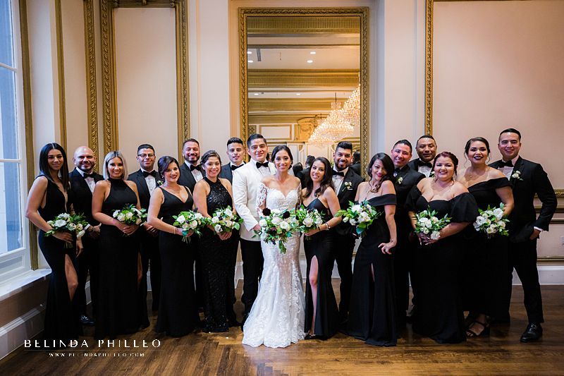 Glamorous black and white wedding at Alexandria Ballrooms in Los Angeles, CA