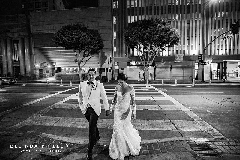 Street photos with bride and groom at their glamorous wedding at Alexandria Ballrooms in Downtown Los Angeles