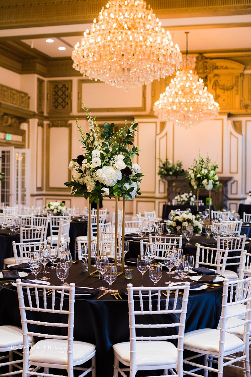 Glamorous black and white wedding at Alexandria Ballrooms in Downtown Los Angeles.