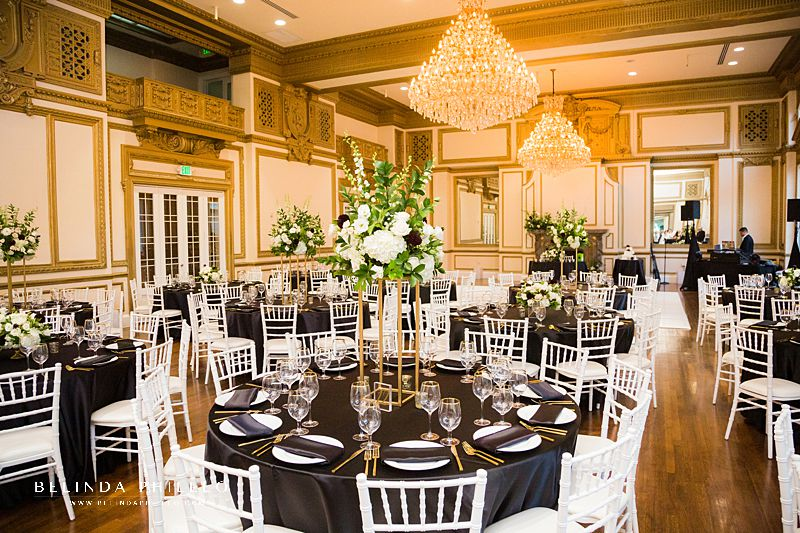 Black, white, and gold wedding at Alexandria Ballrooms in Los Angeles, CA