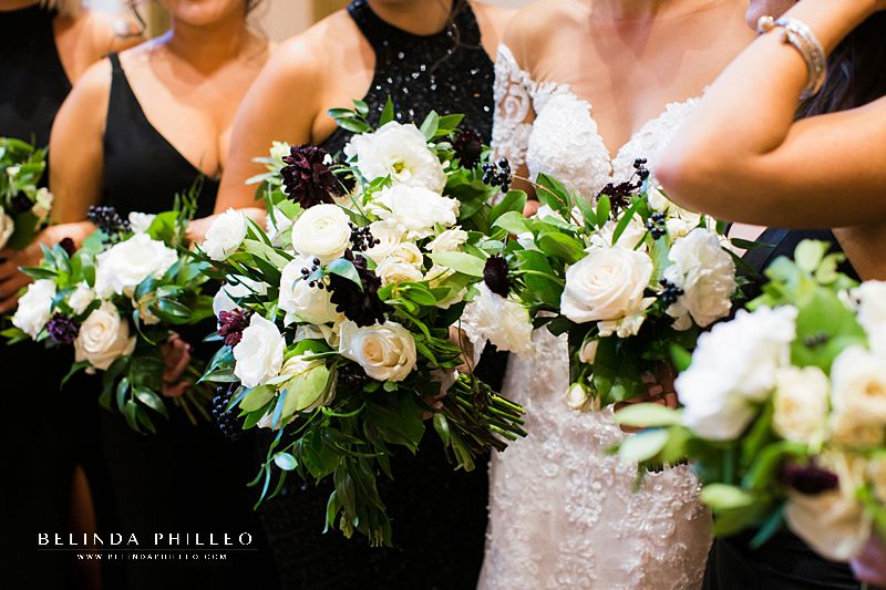 Dramatic white and oxblood bridal bouquets by Flora Sky for DTLA wedding at Alexandria Ballrooms