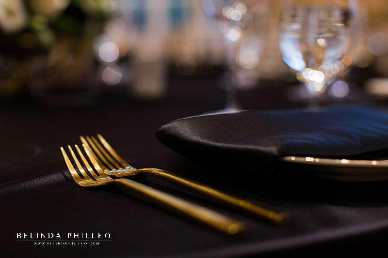 Gold flatware for wedding at Alexandria Ballrooms in Los Angeles, CA