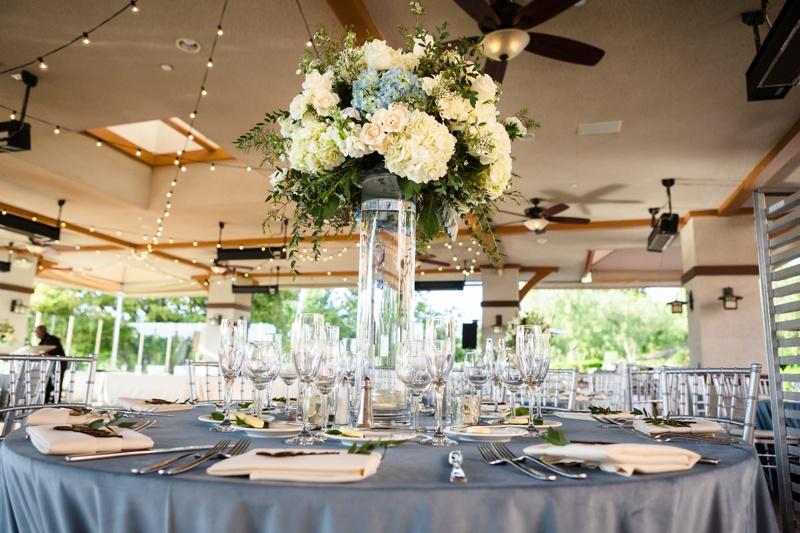 Soft blue and white reception decor at Coto De Caza Golf Club wedding in Orange County, CA