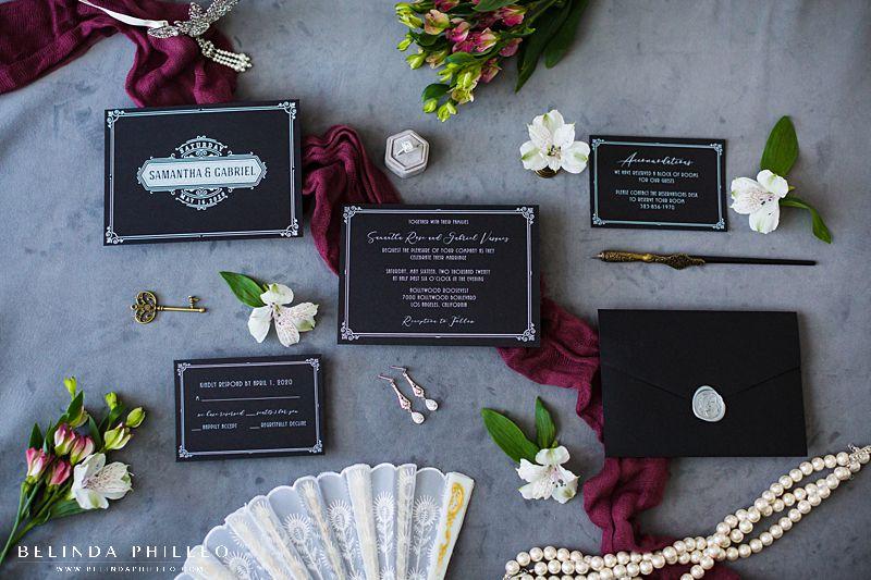 Modern art deco custom wedding invitations by Amira Design in Los Angeles, CA. Photo by Belinda Philleo