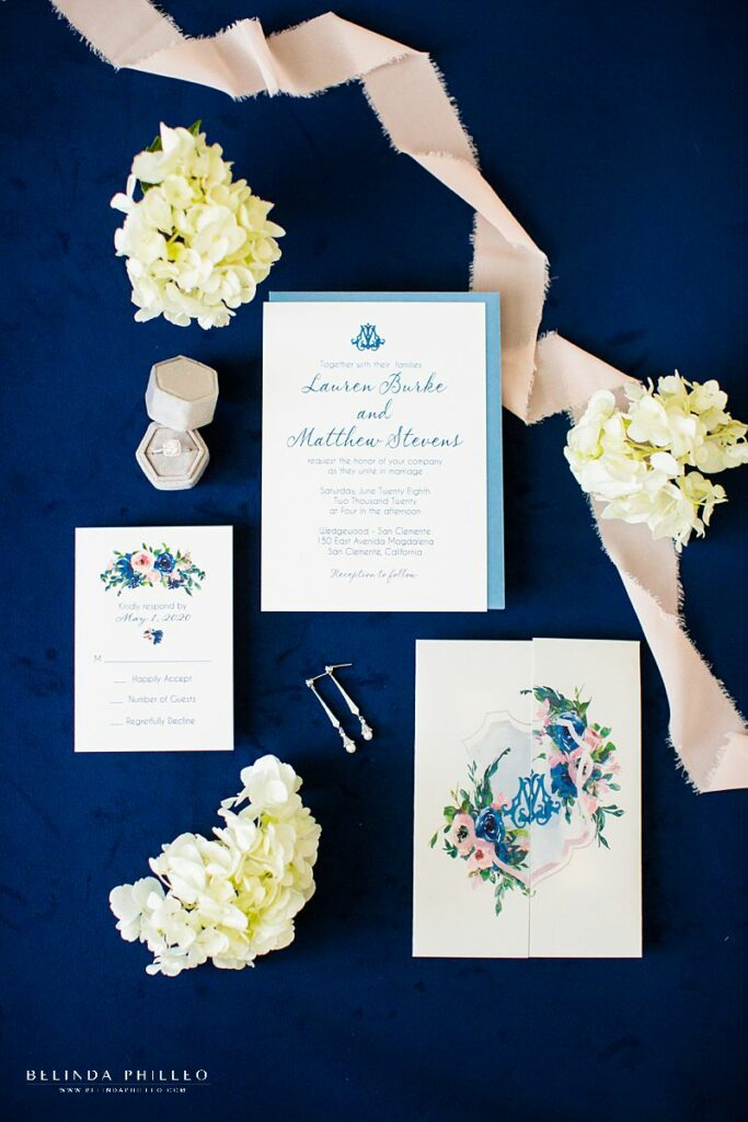 Blush and blue custom wedding stationery by Amira Design in Los Angeles, CA. Photo by Belinda Philleo
