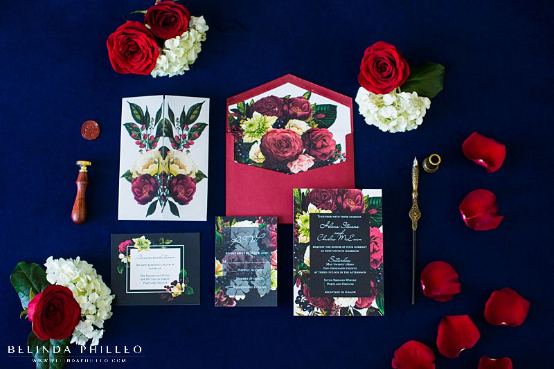 Luxurious Floral custom wedding stationery by Amira Design in Los Angeles, CA. Photo by Belinda Philleo