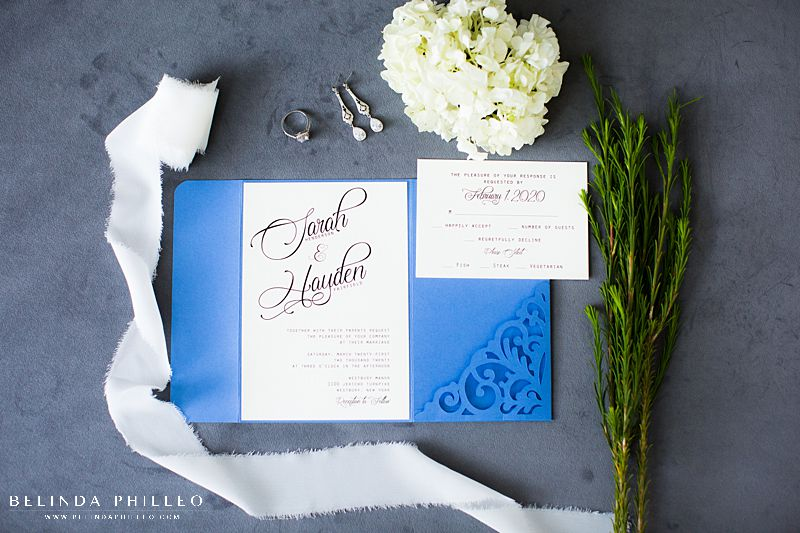 Cornflower Blue custom wedding stationery by Amira Design in Los Angeles, CA. Photo by Belinda Philleo