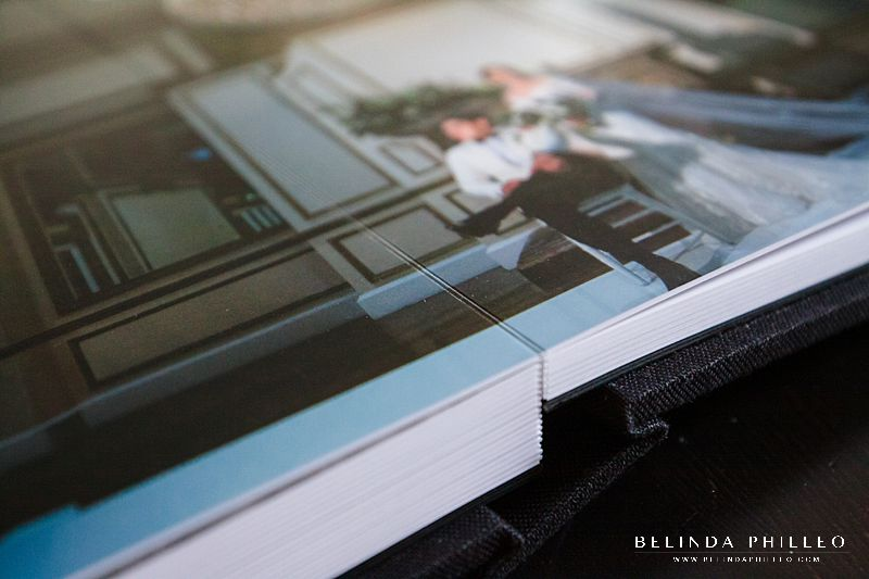 Professional wedding album with no cut center so images can be displayed across the entire book for maximum visual impact